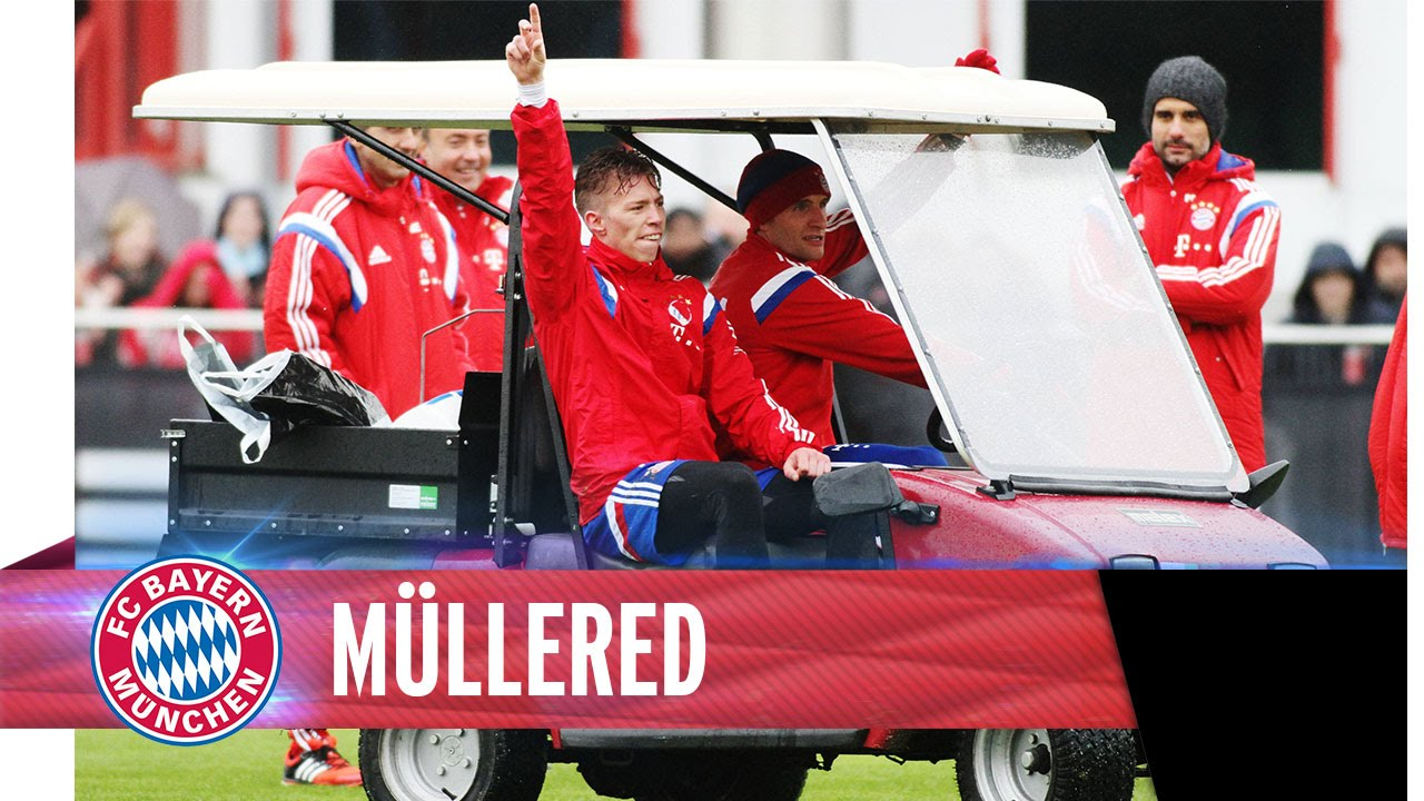Müller drives the golf cart again
