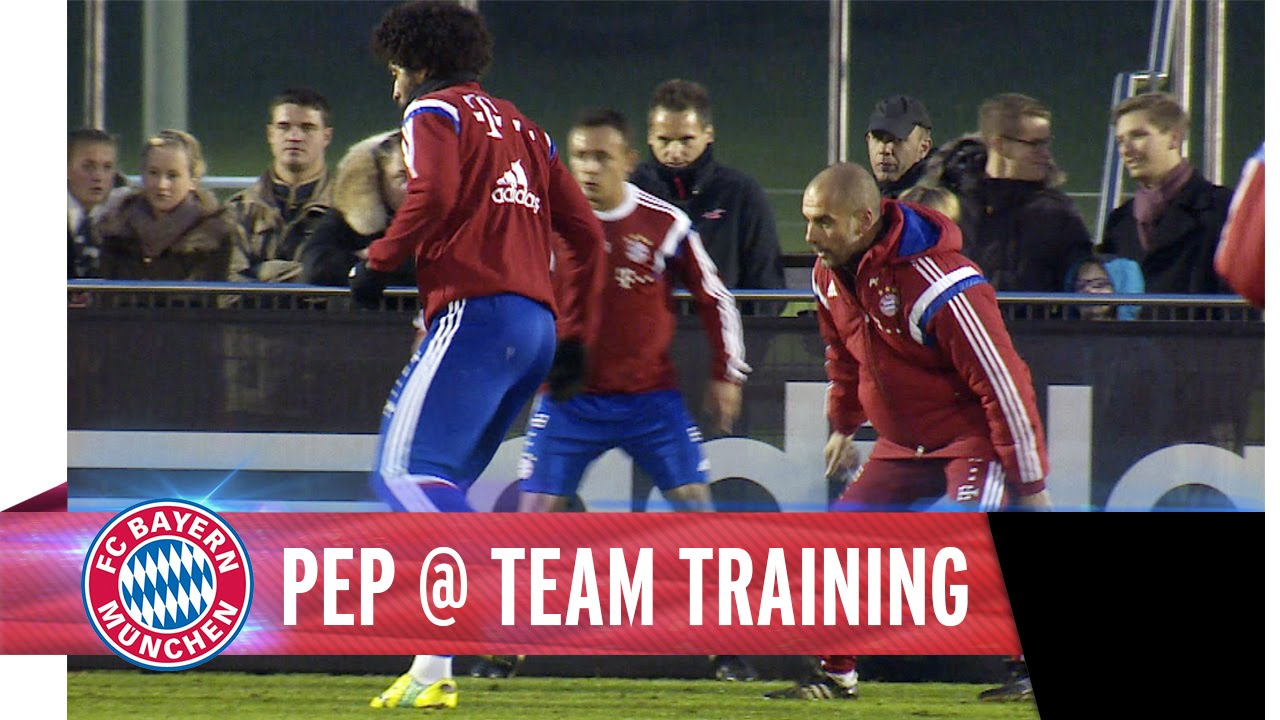 Pep Guardiola trains with the team